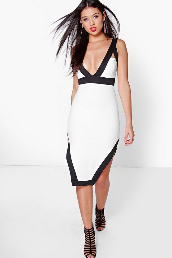 Ria Contrast Colour Cut Away Hem Midi Dress