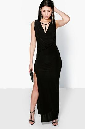 Sophie Slinky Wrap Over Detail Maxi Dress