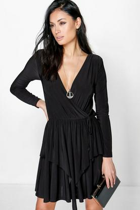 Sofia Slinky Peplum Wrap Skater Dress