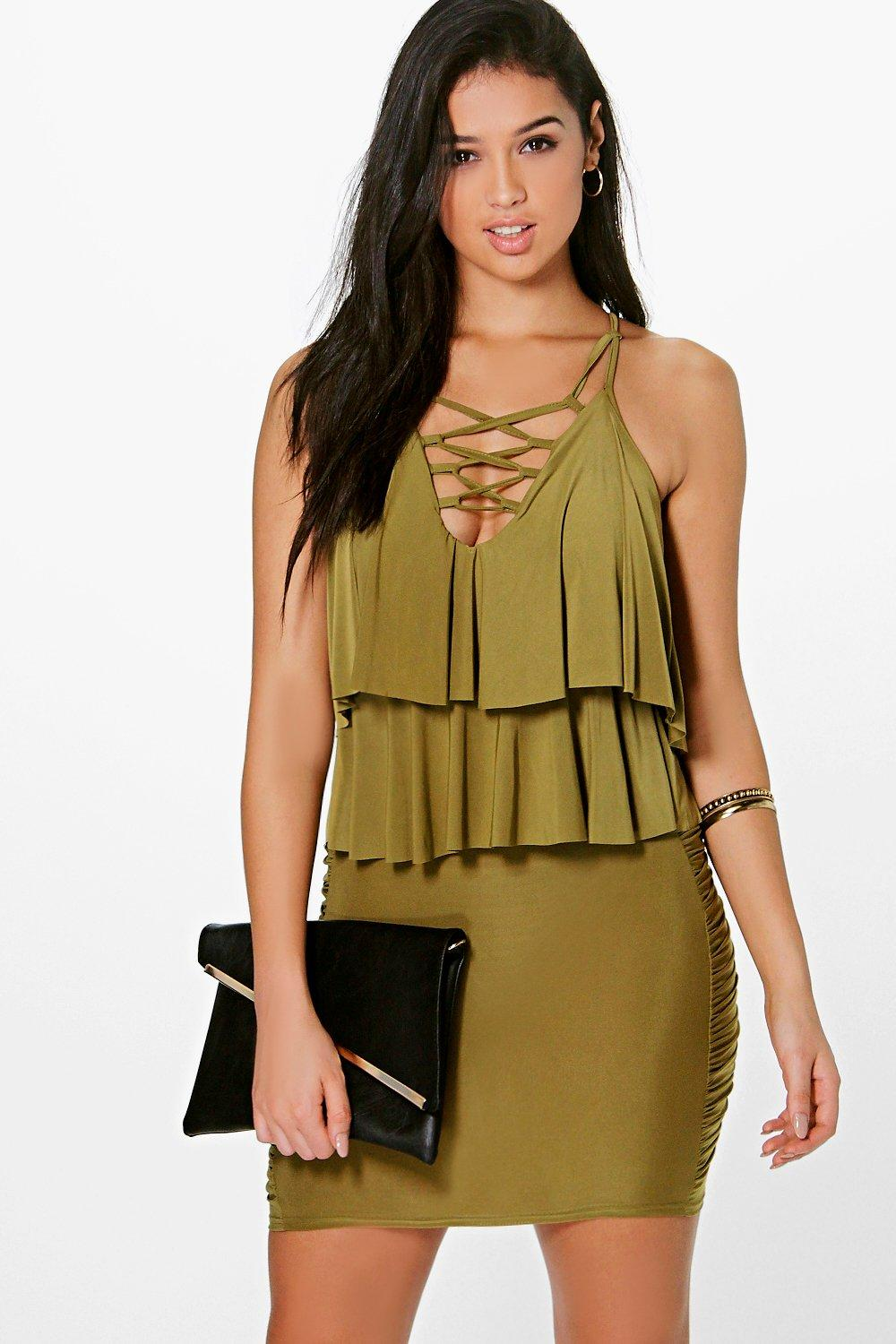 Slinky Ruffle Lace Up Bodycon Dress olive