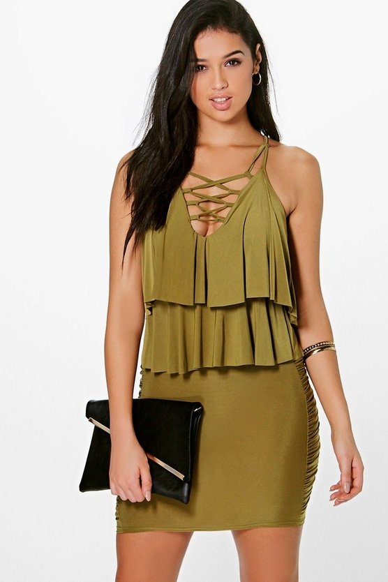Sally Slinky Ruffle Lace Up Bodycon Dress