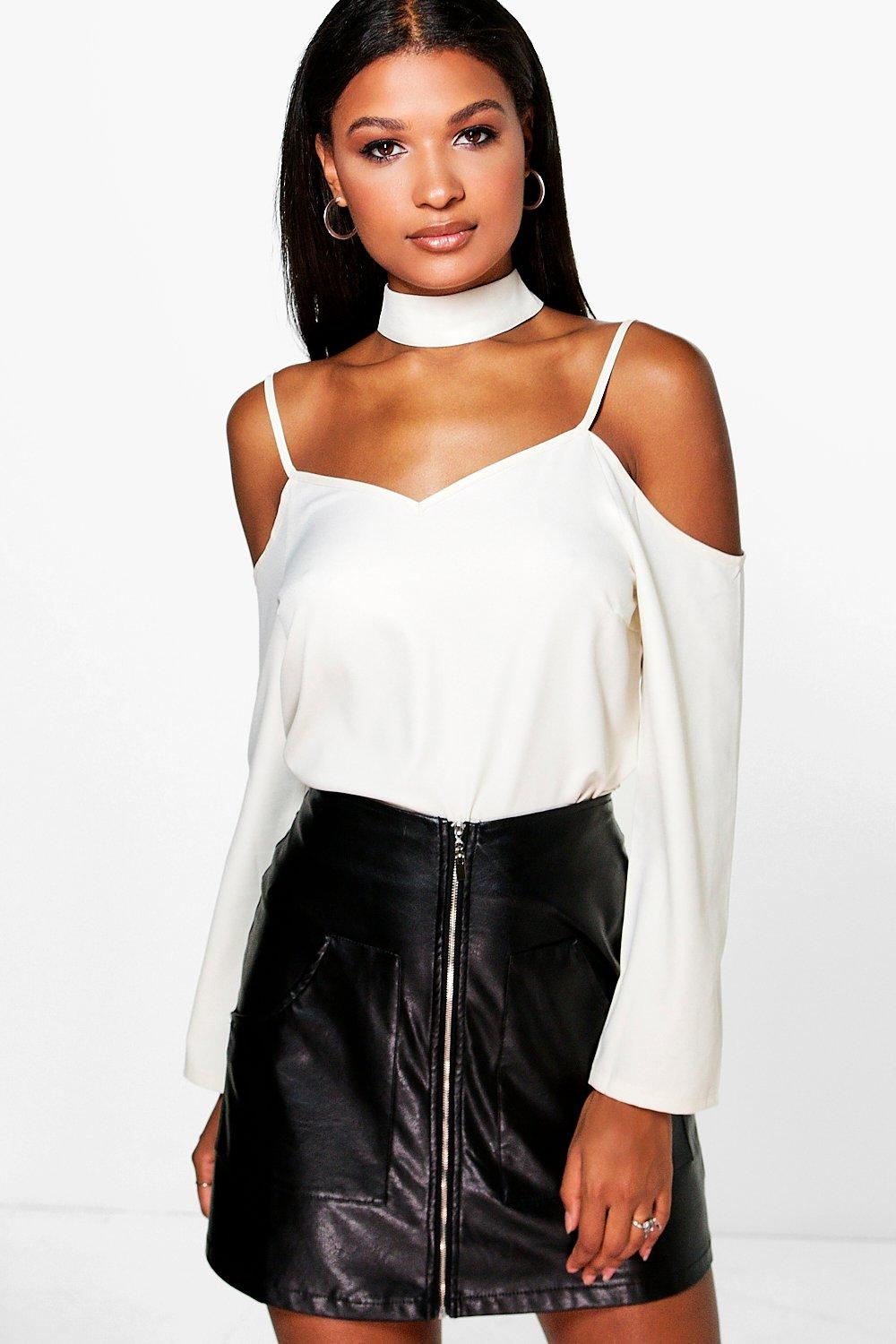 Maddy Open Shoulder Choker Neck Strap Blouse