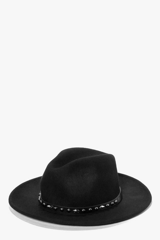 Boutique Wool Studded Western Trim Fedora