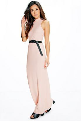 Hayley High Neck Cut Away Ribbed Maxi Dress