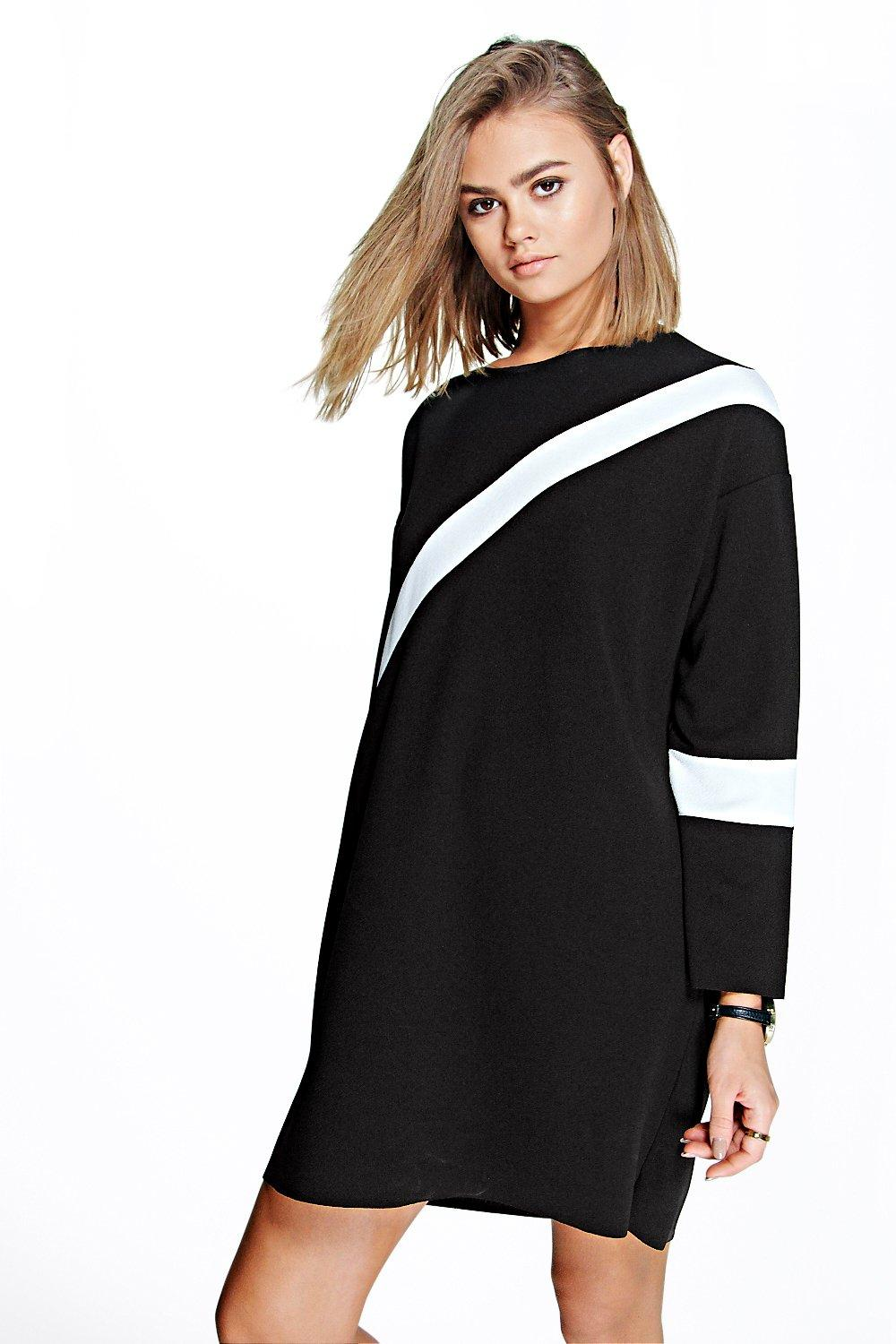 Mizzy Diagonal Stripe Crepe Shift Dress