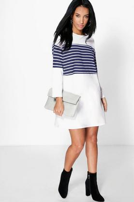 Alisandra Stripe Insert Shift Dress