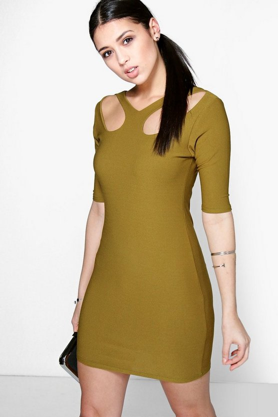 Catty Keyhole Front Bodycon Dress
