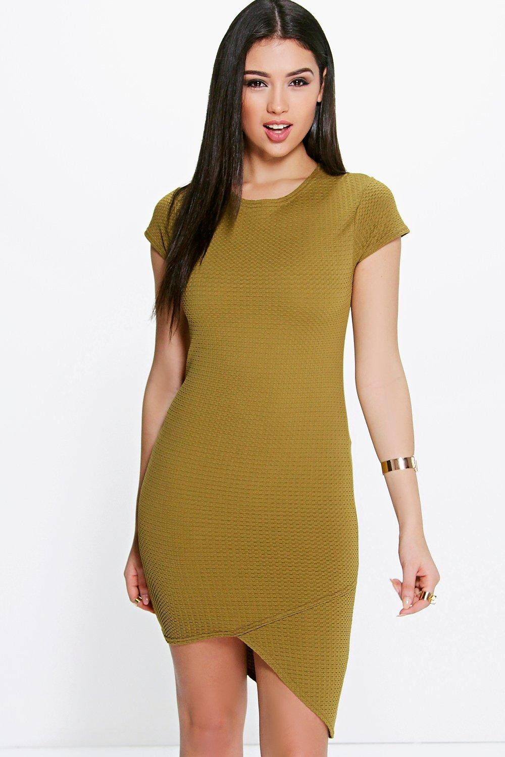 Catrice Wrap Asymmetric Cap Sleeve Bodycon Dress