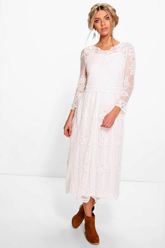 Arianne Embroidered Lace Midaxi Dress