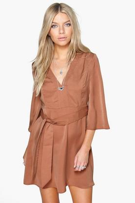 Sara Angel Sleeve Belted Dress