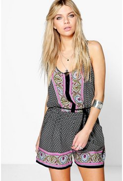 Betty Border Print Playsuit