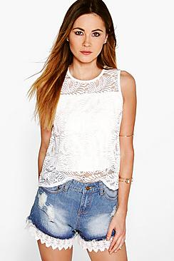 Ruby Crochet Trim Denim Hotpants