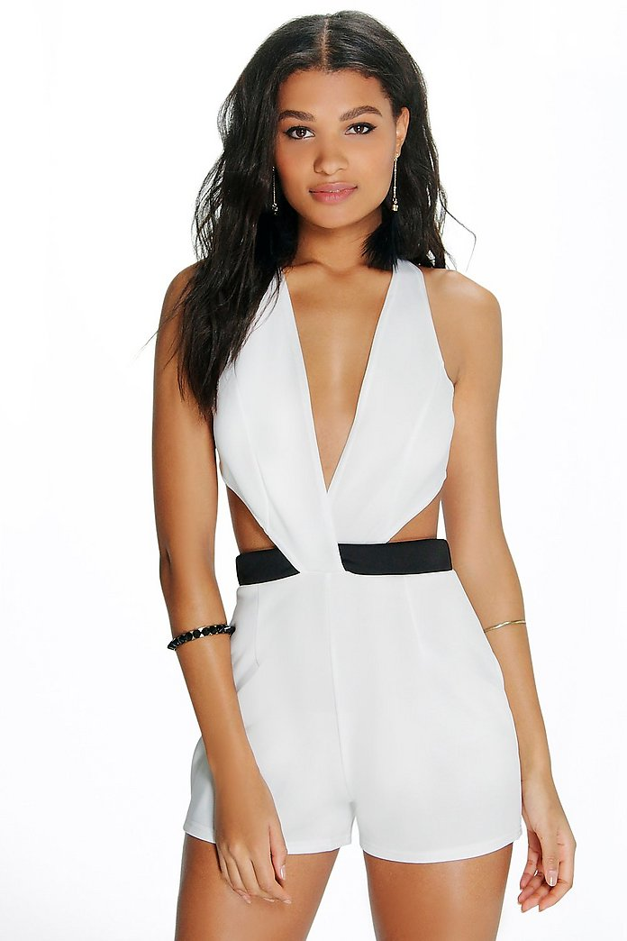Olivia Wrap Over Contrast Waist Playsuit