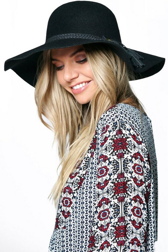Wool Floppy Hat With Tassel Trim