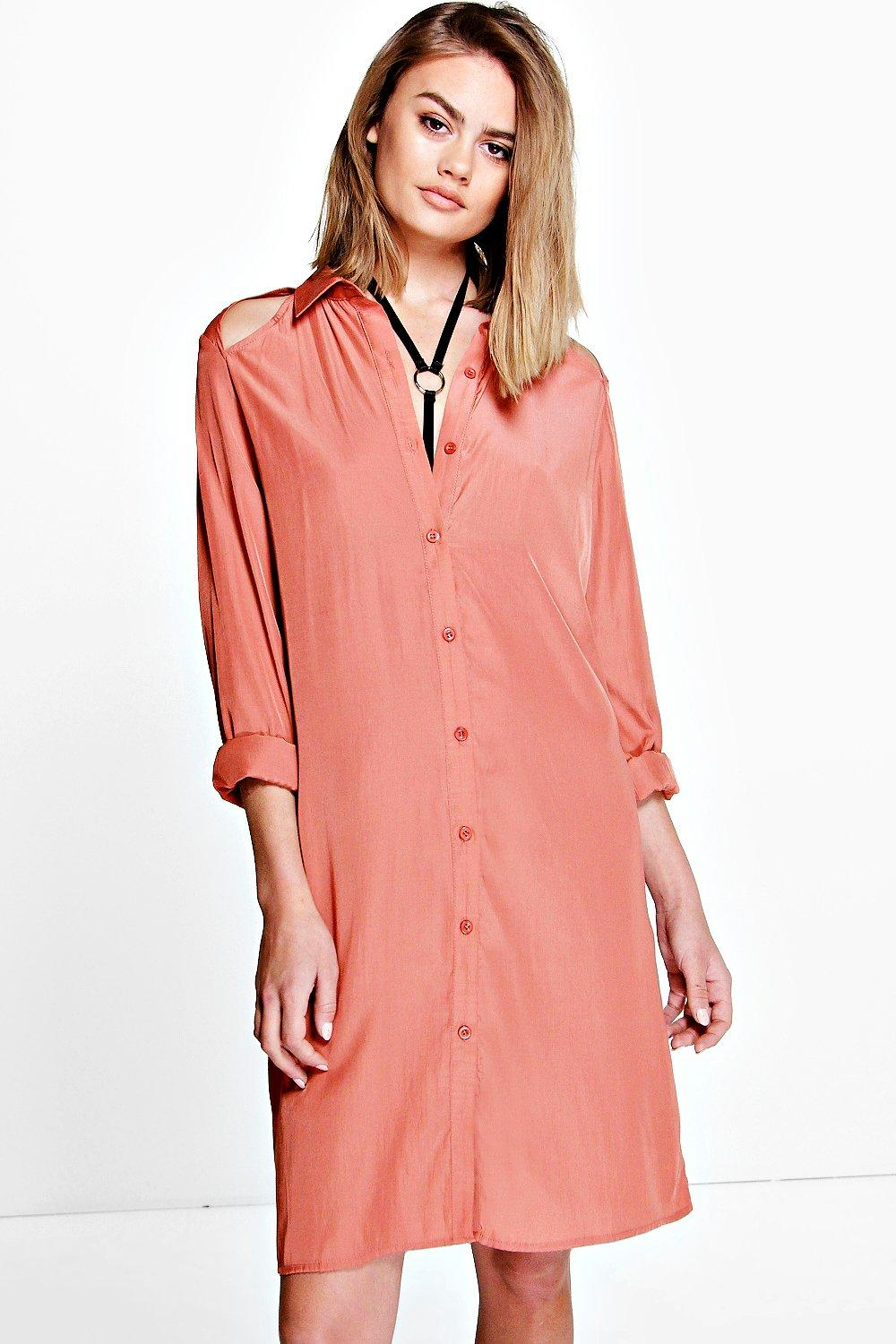 Saraza Cut Out Detail Shirt Dress