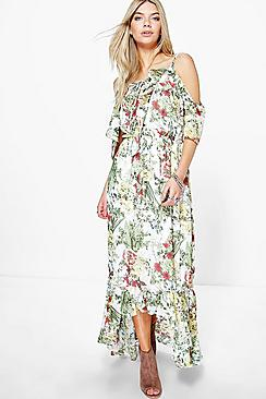 Cari Floral Print Ruffle Neck Maxi Dress
