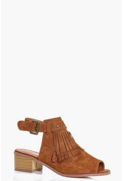 Nina Fringe And Stud Peeptoe Shoeboot