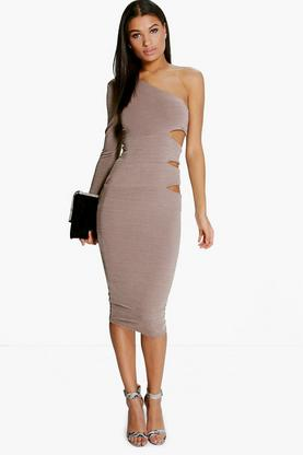 Taylor One Shoulder Cut Out Side Midi Dress