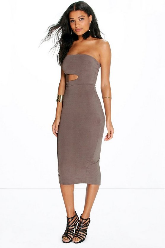 Tanya Bandeau Cut Out Waist Midi Dress