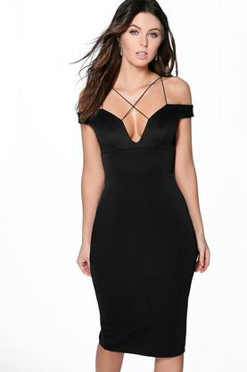 Amelie Strappy Detail Off The Shoulder Midi Dress