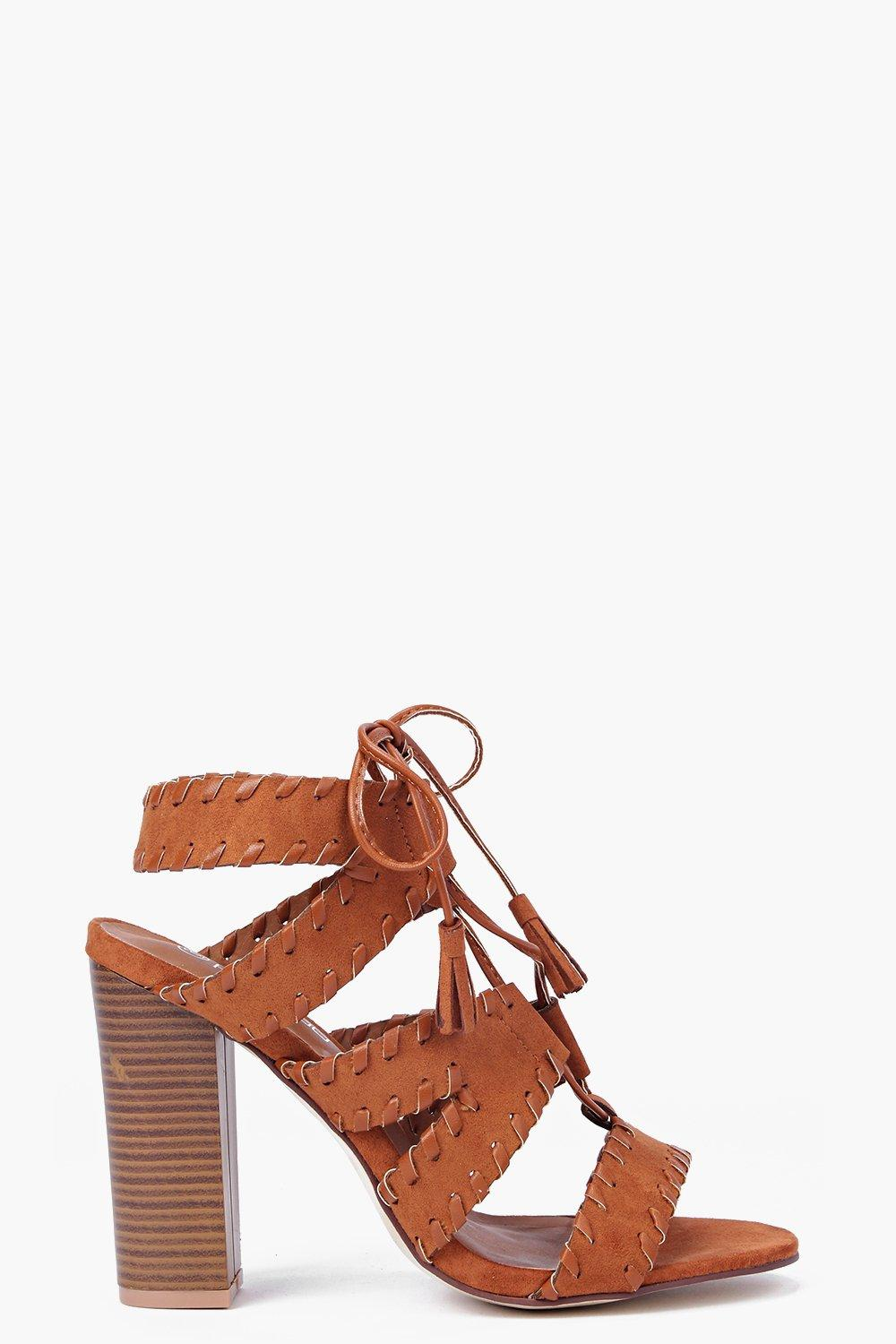 Paige Stitch Detail Lace Block Heel
