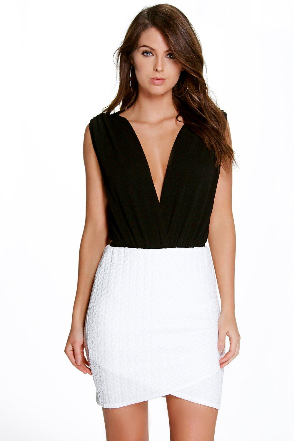 Annora Textured Wrap Front Mini Skirt