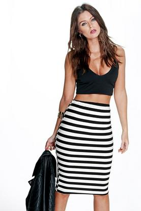Harper Monochrome Stripe Super Stretch Midi Skirt