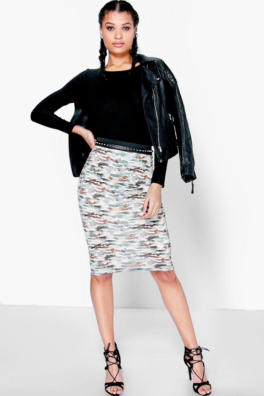 Camo Tonal Print Midi Skirt multi