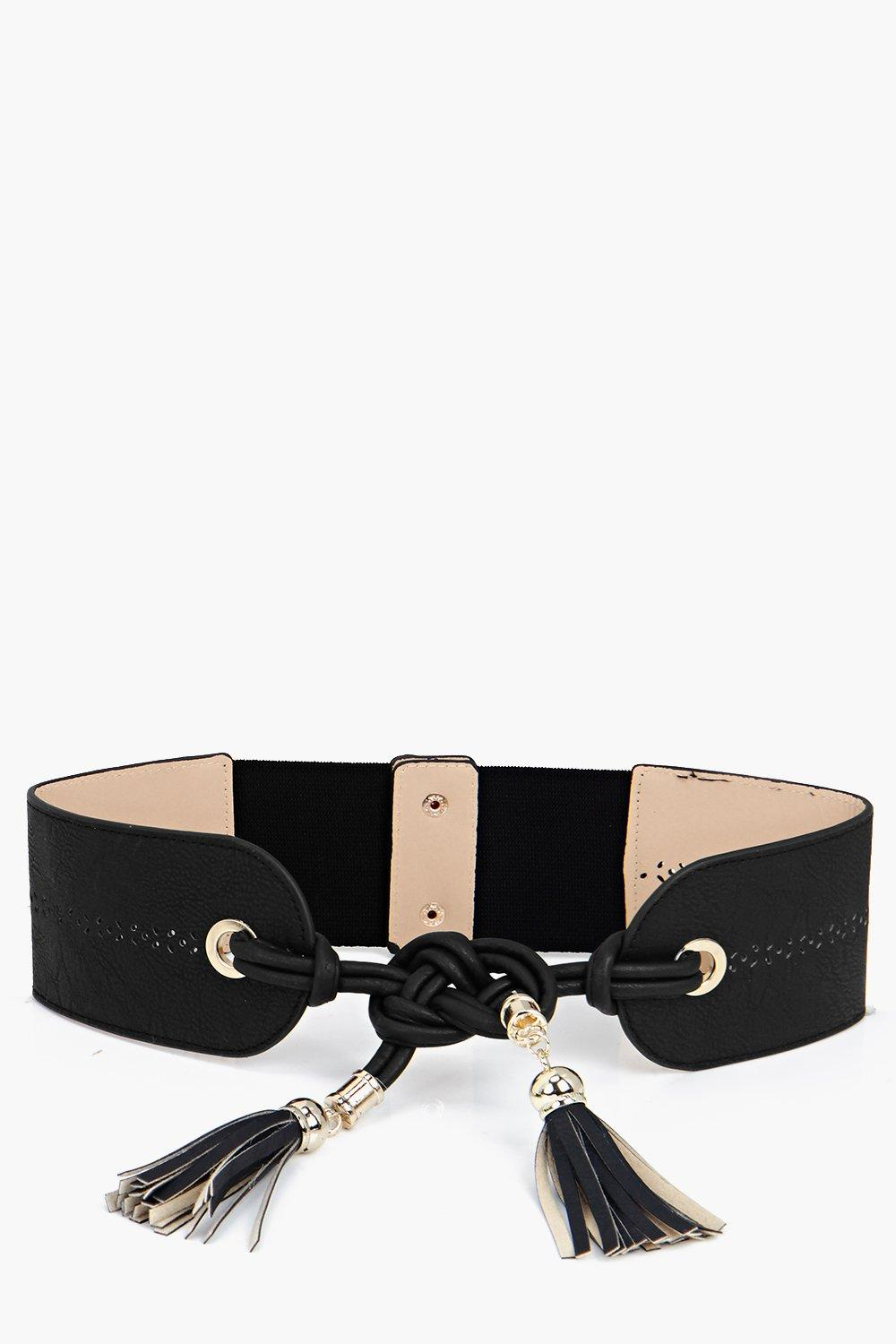 Knot And Tassel Obi Belt - black - Customise your
