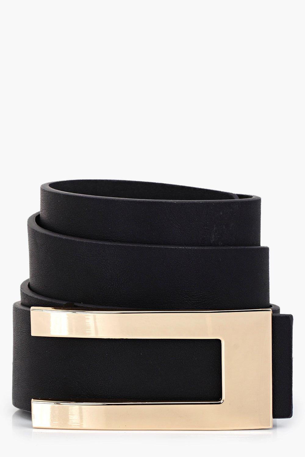 Metal Plate Detail Belt - black - Customise your o