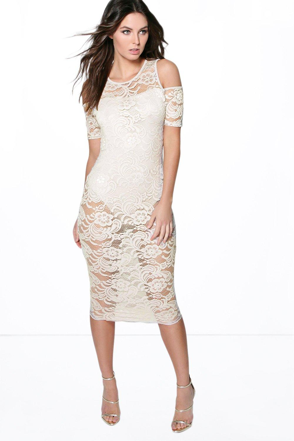Rosie Lace Off Shoulder Bodysuit Midi Dress