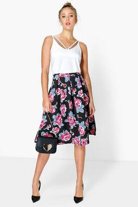 Dexie Large Floral Box Pleat Skater Skirt