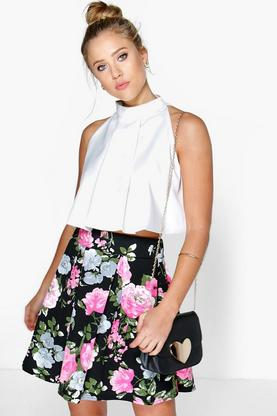 Sumayah Floral Box Pleat Skater Skirt