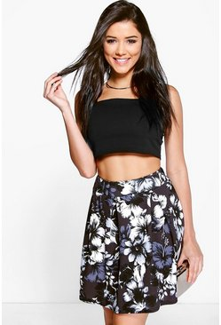 Samara Tonal Floral Box Pleat Skater Skirt