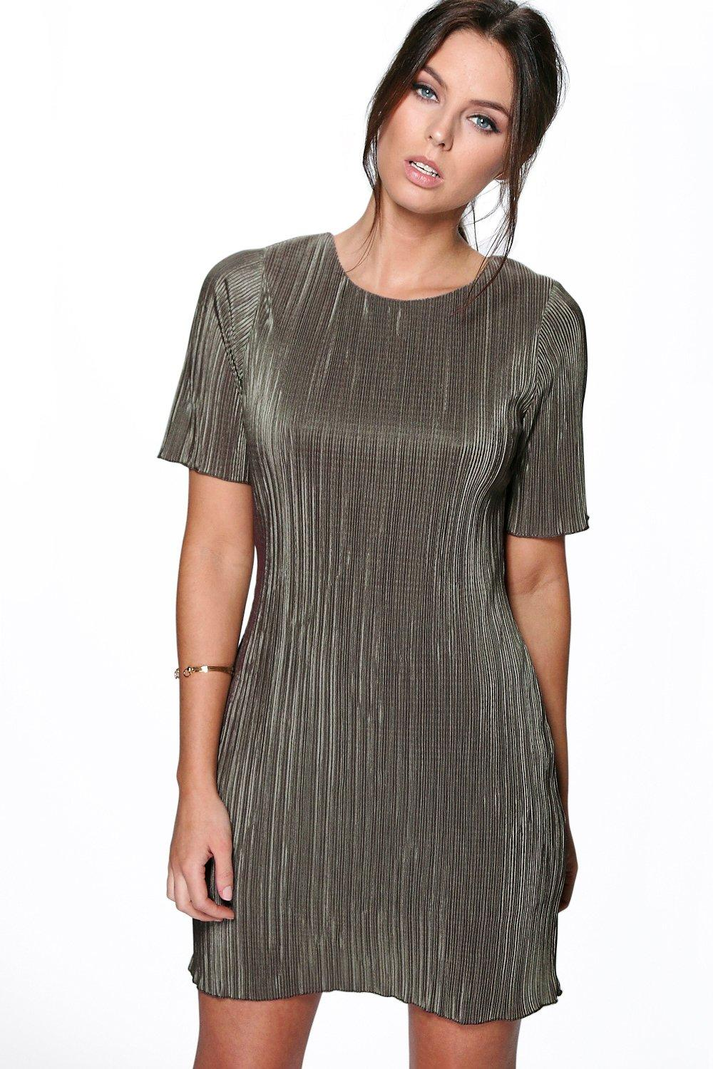 Sally 3/4 Sleeve Pleated Shift Dress