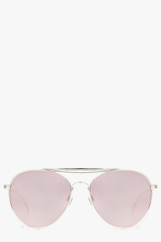 Lily Mirrored Double Brow Bar Aviator Fashion Glasses