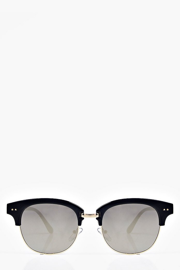 Eva Mirrored Half Frame Wayfarer Sunglasses