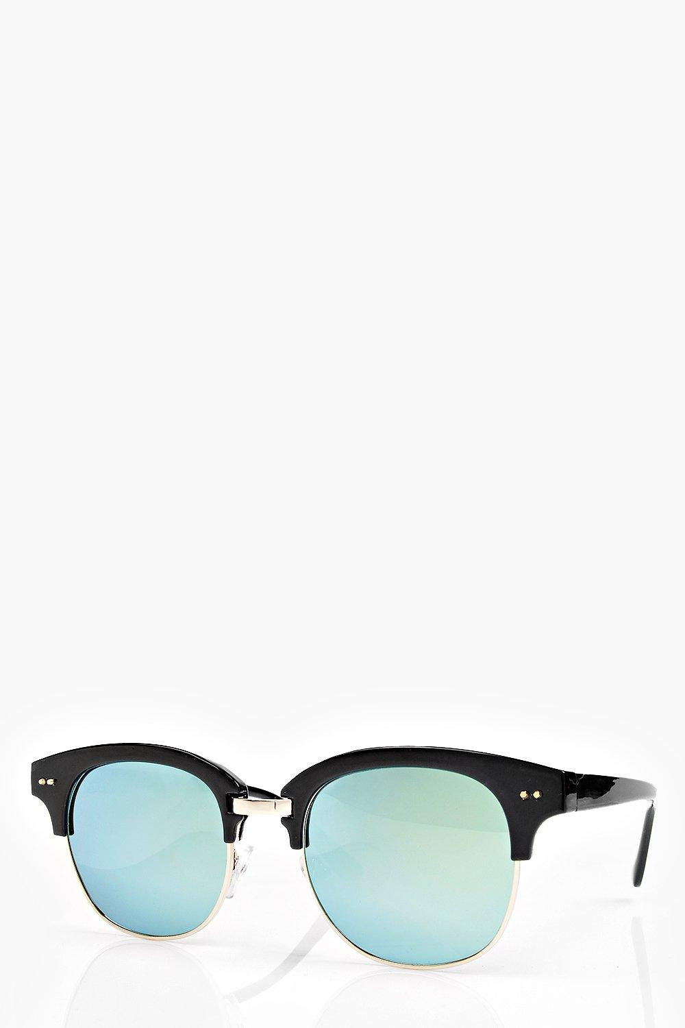 Boohoo Womens Eva Mirrored Half Frame Wayfarer Sunglasses ...