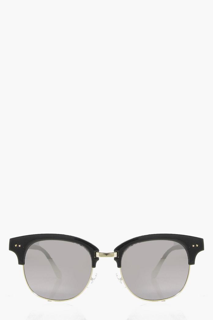 Wayfarer Glasses Half Frame : Eva Mirrored Half Frame Wayfarer Sunglasses Boohoo