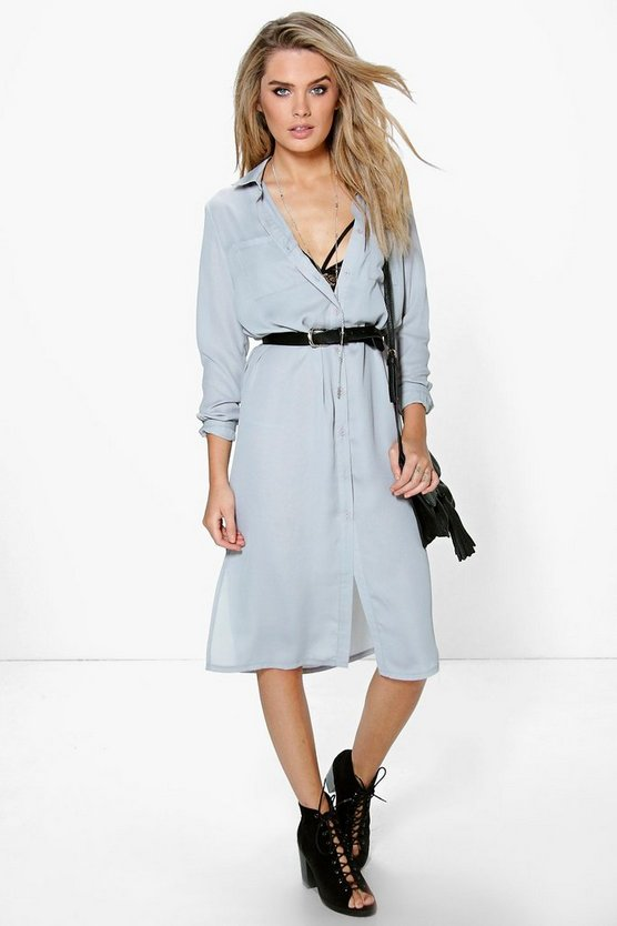 Arianna Low Back Shirt Dress