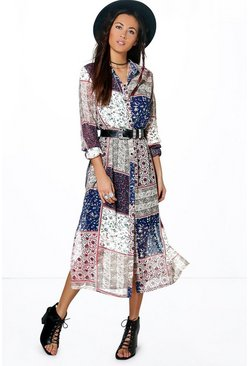 Serena Patchwork Print Maxi Shirt Dress