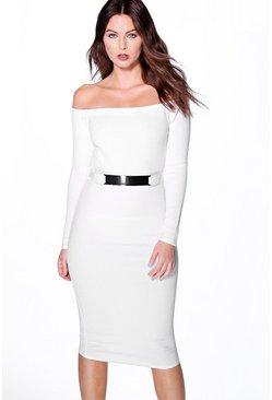 Byanca Textured Off The Shoulder Belted Midi Dress