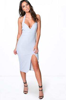 Mara Sweetheart Neck Plunge Split Midi Dress