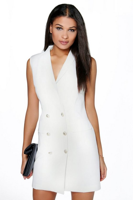 Boutique Aria Button Detail Sleeveless Blazer Dress