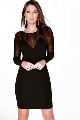 Alessia Mesh Panelled Long Sleeve Bodycon Dress