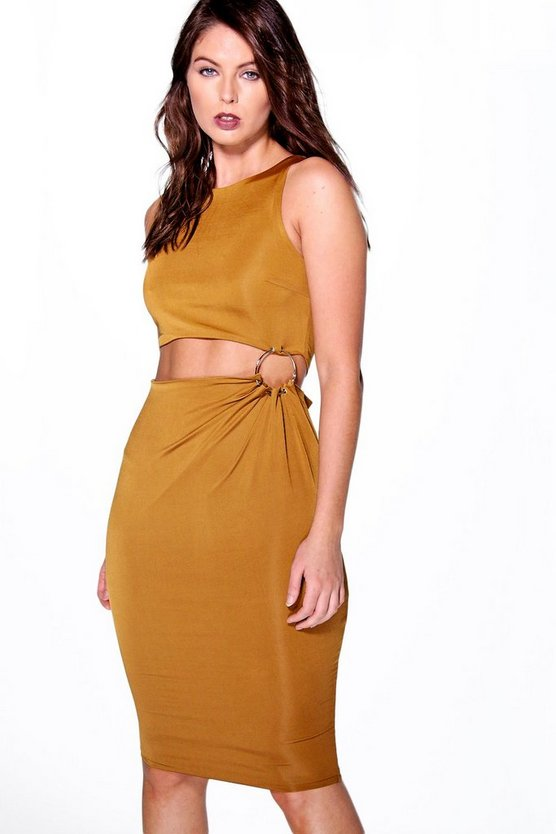 Edita Cut Out Waist Ring Detail Midi Bodycon Dress