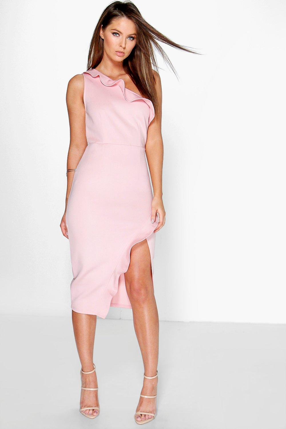 Dahna Frill One Shoulder Wrap Skirt Midi Dress
