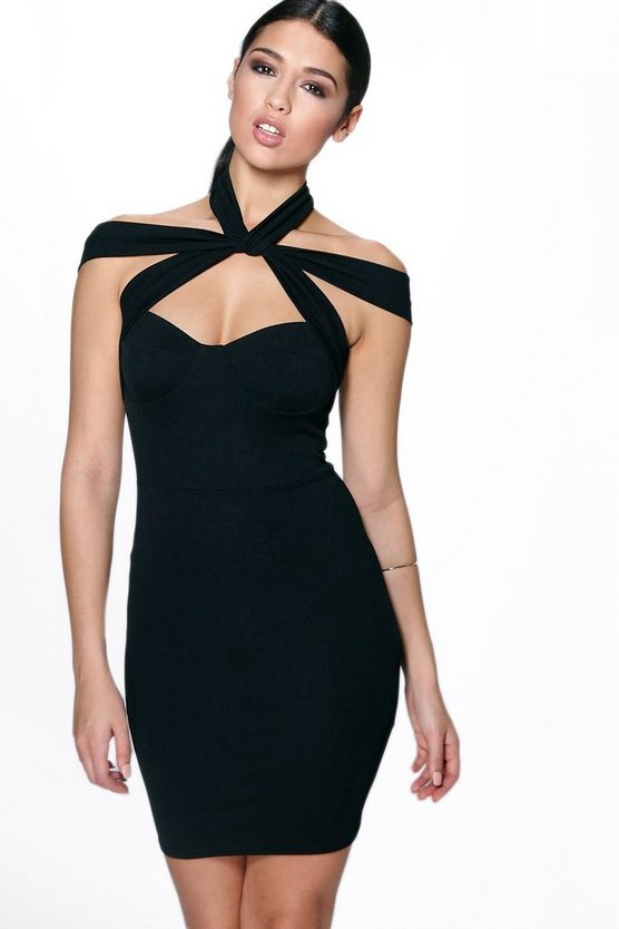 Sofia Strappy Top Detail Bodycon Dress