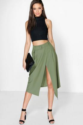 Avah Belted Asymetric Midi Skirt