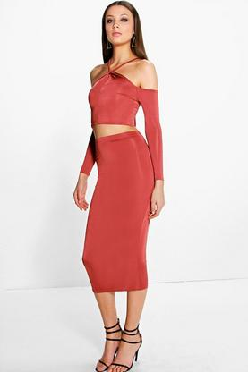 Sophie Tie Neck Slinky Off The Shoulder Co-ord